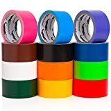 Multi Colored Duct Tape - Variety Pack -12 Colors - 10 yards x 2 inch rolls. Girls & Boys Kids Craft Duck Set, Fun DIY Art Kit – Rainbow: Black red orange white green yellow pink blue brown maroon yr
