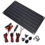 10 Watt 12 Volt Solar Panel Car Battery Charger 10W 12V Portable Solar Trickle Battery Maintainer with Cigarette Lighter Plug & Alligator Clip for Car Boat Motorcycle Tractor