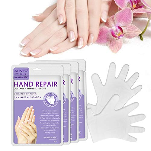ALIVER Hands Moisturizing Gloves (4 Pairs), Hand Skin Repair Renew Mask, Hand Spa Mask for Dry, Cracked Hands, Moisturizer Hands Mask, Hand Cream Mask