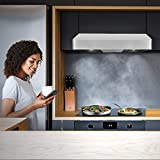 Cosmo QB75 30 in Under-Cabinet Range Hood 900-CFM | Ducted/Ductless Convertible Duct, Kitchen Over Stove Vent with LED Light, 3 Speed Exhaust Fan, Permanent Reusable Filter (Stainless Steel)