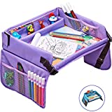 Kids Travel Tray – Activity, Snack, Play Tray & Organizer for Car Seat, Stroller Or Airplane Traveling – Keeps Children Entertained – Portable and Foldable + Free Bag & E-Book by KBT (Purple)