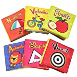TOP BRIGHT Soft Cloth Books for Babies, Baby Toys 6 to 12 Months Girls, Crinkle Books for Infants 1 Year Old (Pack of 6)