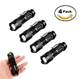 Mini Cree Q5 LED Handheld Flashlight,Super Bright 3 Modes Handheld 300 Lumen Torch Adjustable Focus Zoom Light Lamp,Best Tools for Camping,Hiking,Hunting,Backpacking,Fishing and BBQ,Pack of 4.
