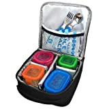 J.L. Childress Insulated Cooler Cube, Portable and Protective Baby Food and Bottle Bag, Ice Pack Included, Black