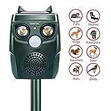 Diaotec Ultrasonic Animal Repellent Solar Powered Waterproof Outdoor Animal Repeller Deterrent - Repel Dogs Cats Squirrels Deer Birds Wild Animals- Activated Motion PIR Sensor