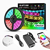 LED Light Strip Kit, Sanwo 16.4ft RGB 300 LEDs Waterproof App Strip Lights with 24V Power Supply, Bluetooth Controller and Rope Light Fixing Clips, Supply for Indoor/Outdoor, iOS & Android