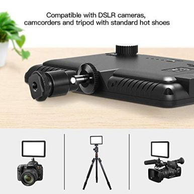 RALENO-Led-Video-Light-Built-in-Rechargeable-Battery-on-Camera-Light-3200K-5600K-Bi-Color-Dimmable-CRI95-with-Hot-Shoe-Ball-Mount-USB-Cable-Video-Lighting-for-YouTube-ChildrenWedding-Shooting