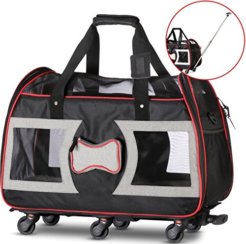 WPS Airline Approved Pet Carrier with Wheels for Small Dogs and Cats - Removable Fleece Bed, Soft Sided, Mesh Windows, Leash Clip, Handle, Carrying Strap - Bone Design - 11'x22'x16