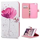 MOLLYCOOCLE iPhone 6 Plus Case, 6S Plus Case, Stand Wallet Premium PU Leather Bling Diamond Butterfly Lotus Pattern Wrist Strap TPU Bumper Cover for iPhone 6S Plus, 6 Plus (5.5 inch)