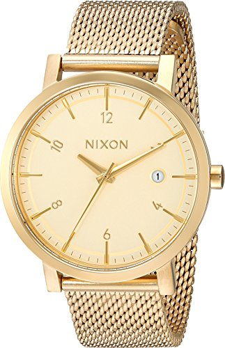 516YZ8hHR9L Nixon® delivers clean lines and classic appeal with the Rollo 38 SS watch! Miyota Japanese quartz three-hand movement with date function. Slimmed down case retains a clean and considered design.