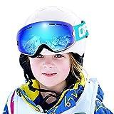 COPOZZ Kids Ski Goggles, G3 Kids Snow Snowboard Goggles - Helmet Compatible Over Glasses OTG Design Non-Slip Strap UV Protection for Children Youth Boys Girls (White-Blue (VLT 24.5%))