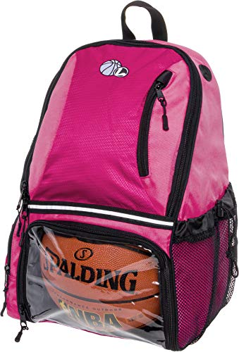 LISH Basketball Backpack - Large School Sports Bag w Ball Compartment (Pink) b7de1cdcc3701
