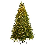 Goplus Pre-Lit Christmas Tree Artificial PVC Spruce Hinged with 700 LED Lights and Solid Metal Legs (7ft)