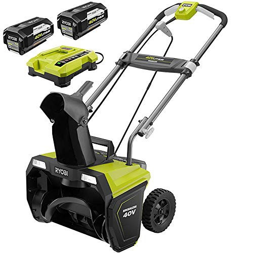 Ryobi 20 in. 40-Volt Brushless Cordless Electric Snow Blower - Two 5.0 Ah Batteries/Charger Included