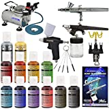 3 Airbrush Master Airbrush Cake Decorating Airbrushing System Kit with Set of 12 Chefmaster Food Colors, Gravity & Siphon Feed Airbrushes, Air Compressor - Decorate Cakes, Cupcakes, Cookies, Desserts