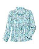 La Cera Flannel Bed Jacket, Aqua Floral, Large