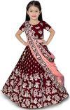 The fashion prime Girl's Tafetta Sattin Semi-Stitched girl's Lehenga Choli for 3-16 Year Girls