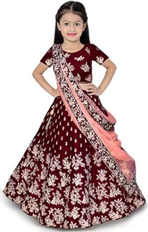 The fashion prime Girl's Tafetta Sattin Semi-Stitched girl's Lehenga Choli for 3-16 Year Girls