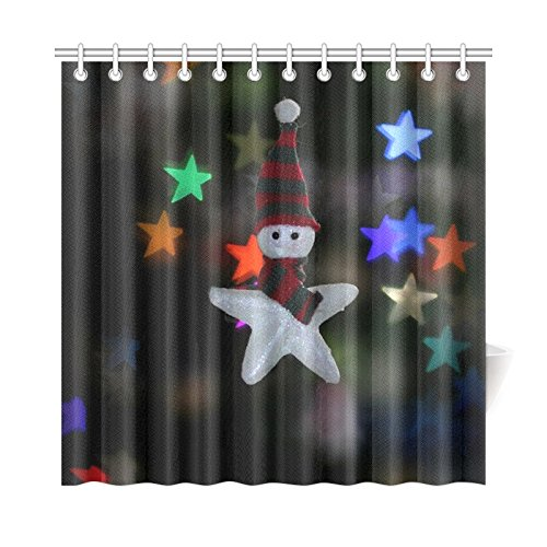 AIKENING Home Decor Bath Curtain Star Bokeh Decorations Lights Holidays Winter Polyester Fabric Waterproof Shower Curtain for Bathroom, 72 X 72 Inch Shower Curtains Hooks Included
