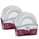 Laura Stein Elegant Plates/Bowls (2 Combo Packs, 64 Plates (32 Sets), White & Silver)