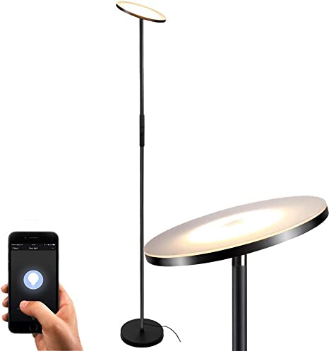 Floor Lamp Floor Lamps For Living Room Sky Led Torchiere Smart Lamps Teckin Dimmable Standing Lamp Remote Control Via Smart Life Lamps For Bedroom Office Compatible With Alexa Google Home