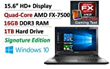 """2016 NEW Signature Edition Lenovo 15.6"""" High Performance Business and Gaming Laptop PC, Quad-Core AMD FX-7500 APU up to 3.30 GHz, 16GB DDR3, 1TB HDD, AMD Radeon R7, DVDRW, WLAN, Bluetooth, Windows 10"""