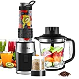 Smoothie Blender, Fochea 3 In 1 Food Processor Multi-Function Kitchen Mixer System, 700W High Speed Blender/Chopper/Grinder with 570ml BPA-Free bottle, Easy to Clean