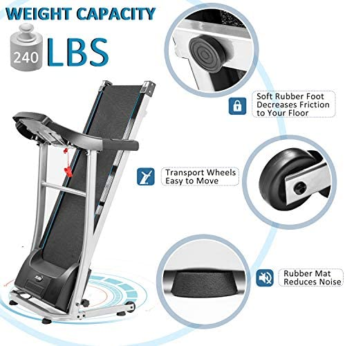 Merax Folding Electric Treadmill Motorized Running Machine Easy Assembly Electric Treadmills for Home, Motorized Fitness Compact Running Equipment with LCD for Home 5