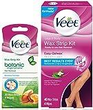 Hair Removal Kit, Veet Leg & Body Wax Strip Kit (40 Ct.) & Veet Botanic Inspirations Sensitive Formula Wax Strip Kit 20 Wax Strips and 4 Wipes- for Bikini, Underarm, Face & Body