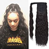 SEIKEA Clip in Ponytail Extension Long Straight Kinky Thick Curly Hair Fluffy Pony Tail Wrap Around 24 Inch - Black Brown