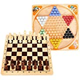 Lewo 2 in 1 Wooden Chess Set Chinese Checkers Board Table Games for Kids Adults Family