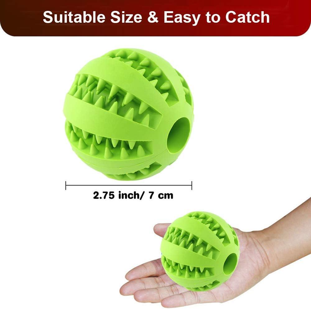 QINUKER Dog Ball Toys para Mascotas, Juguetes para Masticar Juguetes duraderos interactivos Dientes Fuertes Masticar Jugar IQ Entrenamiento Suave mordedura de Goma Natural Pequeño y Mediano Cachorro
