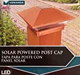 4 in. X 4 in. Plastic Copper Finish Solar Powered Square Post Cap