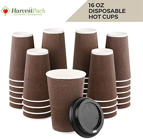 HARVEST PACK 16 oz Insulated Ripple Double-Walled Paper Cup with Lid, Brown Geometric, Coffee Tea Hot Chocolate Drinks To go [85 SETS]