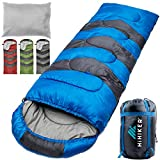 HiHiker Camping Sleeping Bag + Travel Pillow w/Compact Compression Sack - 4 Season Sleeping Bag for Adults & Kids - Lightweight Warm and Washable, for Hiking Traveling & Outdoor Activities (Blue)