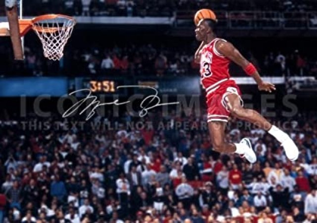 """Iconic Images Large Michael Jordan NBA Chicago Bulls Signed Print Pre-Print Autograph (11.7"""" x 16.5""""): Amazon.in: Home & Kitchen"""