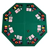 Giantex 48' Folding Poker Table Top Green Octagon 8 Player Four Fold Folding Poker Table Top & Carrying Case