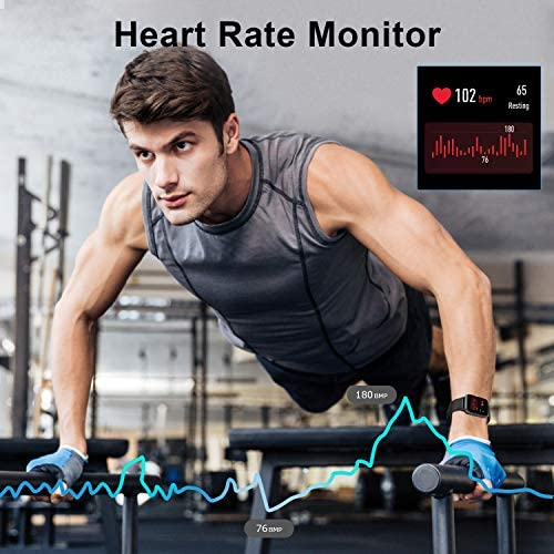 Anbes Health and Fitness Smartwatch with Heart Rate Monitor, Smart Watch for Home Fitness Tracking, Yoga, Exercise Bike, Treadmill Running, Compatible with iPhone and Android Phones for Women Men 6