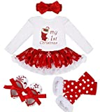 iEFiEL Baby Girls Christmas Picture Skirt Bodysuit Headband Leg Warmer Shoes Set (3-6 Months, Christmas Stocking)