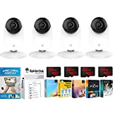YI 1080p Home Camera Pack of 4 Wi-Fi IP Security Surveillance System with Night Vision, Baby Monitor on iOS/Android App Back Up Bundle with 4 32GB High Speed Cards and Essential Software Bundle