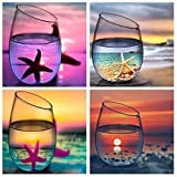 KOTWDQ 4 Pack 5d Diamond Painting Kits for Adults Kids Set Cup Full Drill Diamond dotz for Home Wall Decor