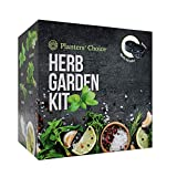 Planters' Choice Organic Herb Growing Kit + Herb Grinder - Complete Kit to Easily Grow 4 Herbs from Seed (Basil, Cilantro, Chives & Parsley) with Comprehensive Guide   Unique Gift (Herbs)