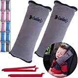 Seat Belt Pillow for Kids by Cuddles   2 Pack Seatbelt Pillow  seat Belt Pillows  Kids Seatbelt Pillow  Seatbelt Pillow for Kids  car Travel Head Cushion, Washable Cover, Headrest Gray 2 Pack