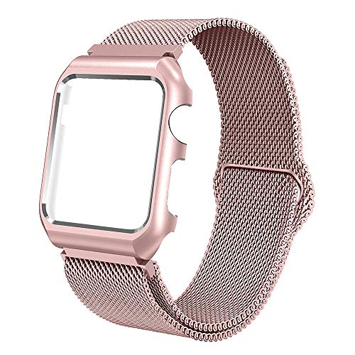 ALNBO B Compatible with Watch Band Stainless Steel Mesh Magnetic Replacement Wrist Band with Metal Protective Case for Series 3 Series 2 Series 1