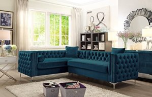 Velvet Sectional Sofa with Nailhead Trim - Goldilocks Effect