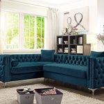 Velvet Sectional Sofa with Nailhead Trim - Goldilocks Effect