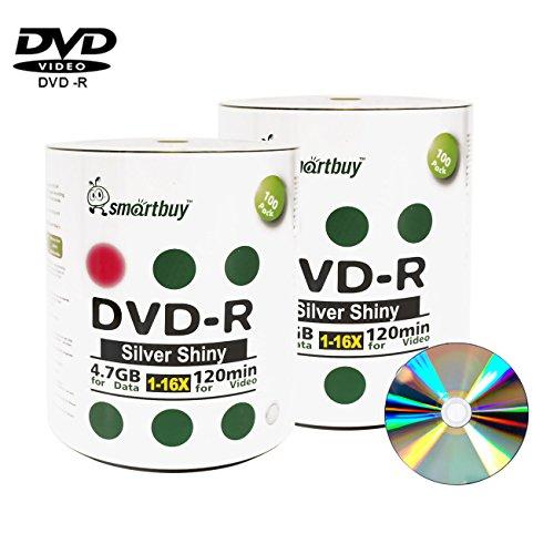 Smart Buy 200 Pack Dvd R 47gb 16x Shiny Silver Blank Data Video