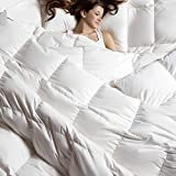 C&W Luxurious Queen Size Siberian Goose Down Comforter,Heavywarmth Winter,Down Comforter Queen Size,1200 TC-100% Egyptian Cotton Cover,750 Fill Power,50 oz Fill Weight, White Solid