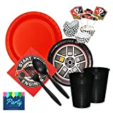 Race Car Party Supplies Pack - Tableware for 16 Guests - Paper Plates, Napkins, Forks, Spoons, Cups