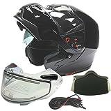 Typhoon Dual Visor Modular Full Face Snowmobile Helmet With Heated Shield, Breath Box (Gloss Black, Large)